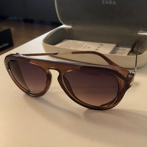 Brown wide frame sunglasses